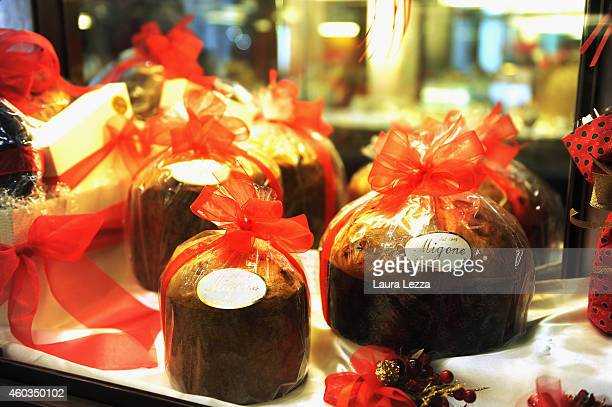 The showcase of a famous pastry shop with typical Italian Christmas cake Panettone is seen during Christmas lighting and decorations on December 11...