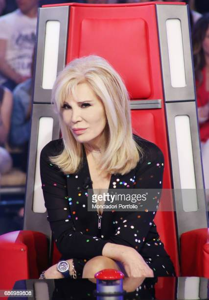 The showgirl Amanda Lear in a TV show Milan Italy 24th May 2014