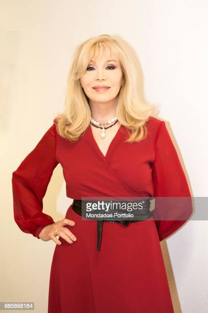 The showgirl Amanda Lear in the backstage of a TV show Milan Italy 14th March 2015