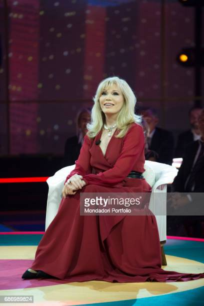 The showgirl Amanda Lear sitting in a TV studio Milan Italy 14th March 2015