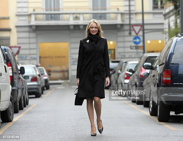 The showgirl Anna Falchi being photo shooted while walking in a street of Milan Milan Italy 26th November 2004