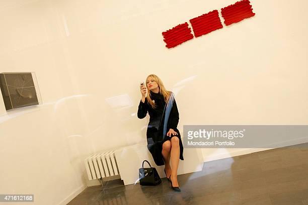 The showgirl Anna Falchi photo shooted at the art gallery Milan Italy 26th November 2004