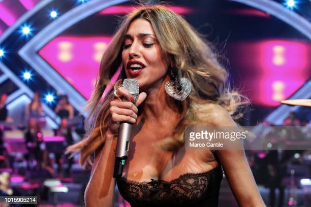 The showgirl Belen Rodriguez performs live during a TV show in Naples