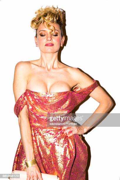 The showgirl Justine Mattera at Milano Uomo catwalks Milan Italy 21st January 2015