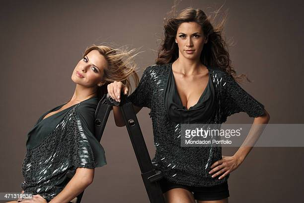 The showgirls and veline of the satyrical television newscast Striscia la notizia Thais Souza Wiggers and Melissa Satta posing for a photo shooting....
