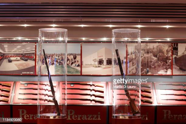The showroom of the Perazzi factory is seen on April 4 2019 at the Perazzi Armi factory in Botticino Mattina a village in the outskirt of the city of...