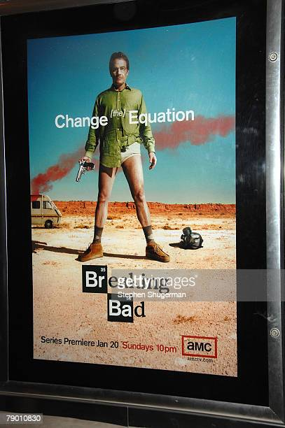 The show's poster is seen at the premiere of AMC's Breaking Bad at Sony Pictures Studios on January 15 2008 in Culver City California