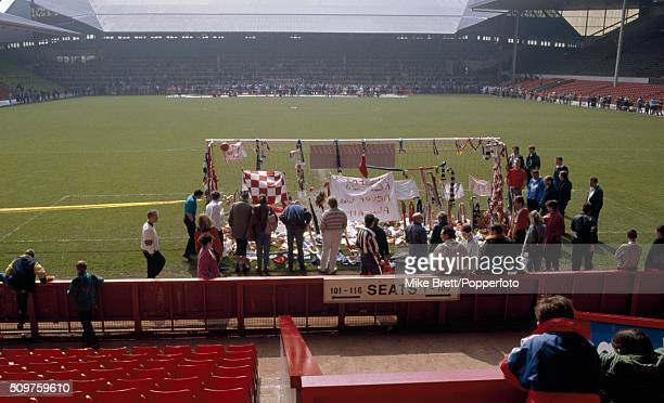 The Shrine at Anfield in Liverpool composed chiefly of flowers and scarves following the Hillsborough Disaster in Sheffield which caused the deaths...