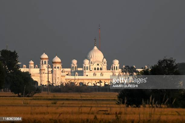 The Shrine of Baba Guru Nanak Dev at Gurdwara Darbar Sahib is seen in Pakistan's town of Kartarpur near the Indian border on November 8 2019 A...
