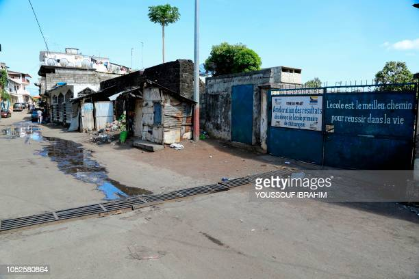 The shut entrance to a school in the Chitsangani district of Mutsamudu the capital of the Comoros archipelago island of Anjouan is seen on October 20...