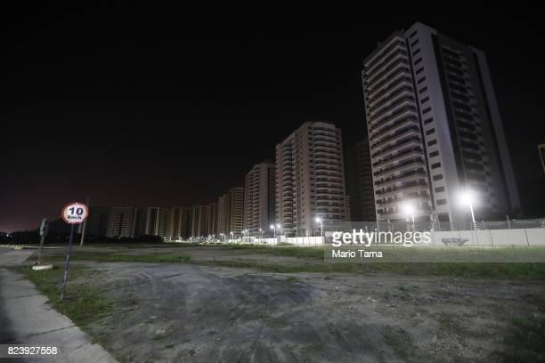 The shuttered Athlete's Village stands near Olympic Park in the Barra da Tijuca neighborhood on July 23, 2017 in Rio de Janeiro, Brazil. The...