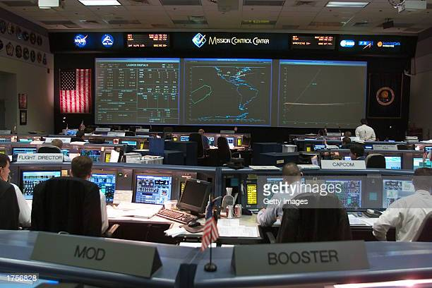 The shuttle flight control room in Houston's Mission Control Center is seen January 16 2003 in Houston Texas They are waiting for Space Shuttle...
