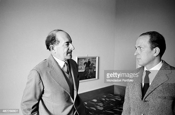 The Sicilian poet Salvatore Quasimodo the fourth Italian writer who won the Nobel Prize in literature is photographed during an interview in his...