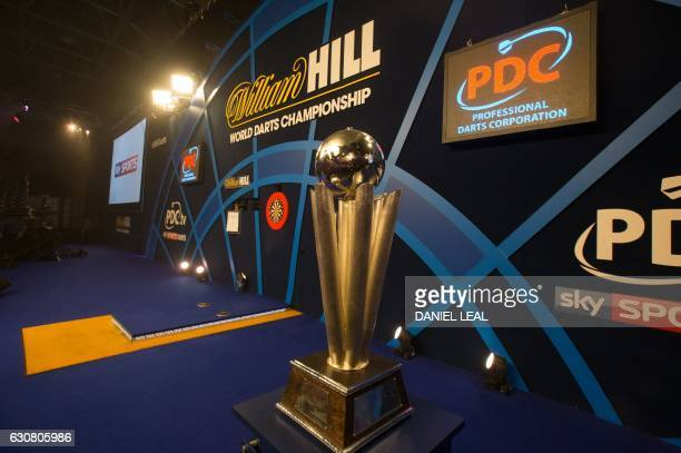 The Sid Waddell trophy sits on the main stage ahead of the PDC World Championship darts final between Netherlands' Michael van Gerwen and Scotland's...