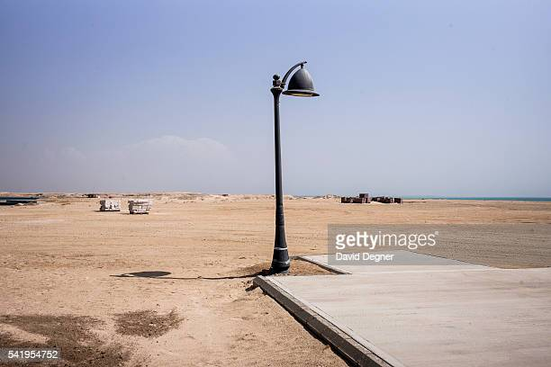 The sidewalk ends beside the visitors center at the King Abdullah Economic City on April 07 2016 in Jeddah Saudi Arabia The King Abdullah Economic...