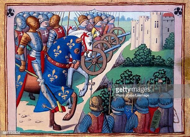 The siege of Chateau Gaillard by king Charles VII 1449 Miniature from the manuscript 'Vigils of Charles VII' written by Martial de Paris known as...