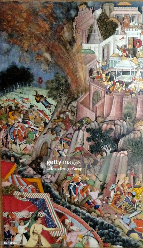 The Siege of Chitor (left side) from the Akbarnama (Book of Akbar). Composition by Miskina, painting by Bhura, opaque watercolour and gold on paper, Mughal, c1590-5. Following the disaster, the Mughal forces adopted a more patient approach, construct : News Photo