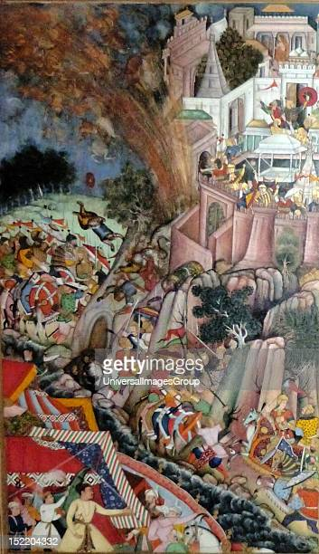 The Siege of Chitor from the Akbarnama Composition by Miskina painting by Bhura opaque watercolour and gold on paper Mughal c15905