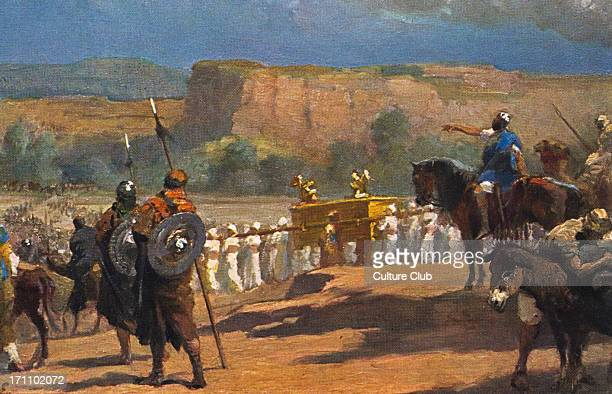 The Siege of Jericho painting of the scene from the Bible in Joshua chapter 3 verse 17 showing Israelites with the Ark of the Covenant marching