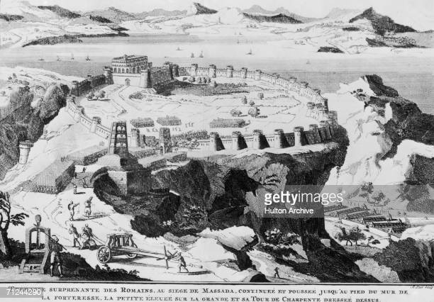 The Siege of Masada on the shores of the Dead Sea in Judea circa 73 AD The Roman army besieged a group of around 1000 Jewish rebels who had taken up...