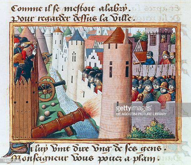 The siege of Orleans, miniature from The vigils of Charles VII, by Martial d'Auvergne, manuscript 5054, folio 54, verso, 1484. France, 15th century....