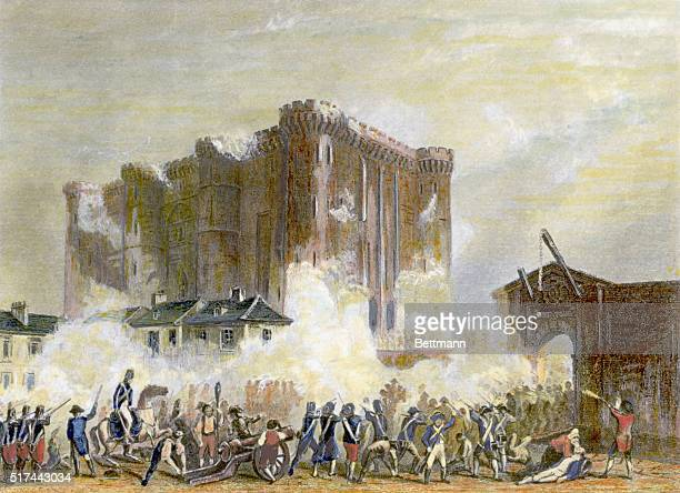 The siege of the Bastille Colored engraving
