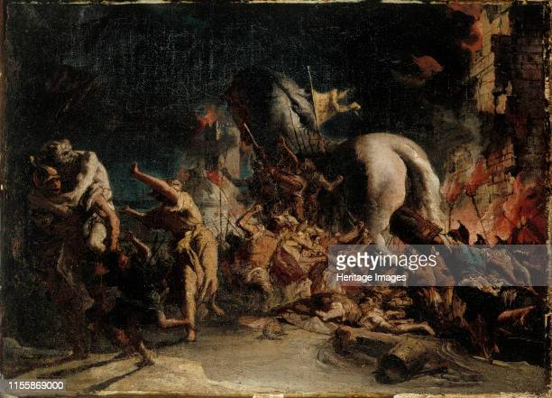 The Siege of Troy circa 1760 Found in the Collection of Sinebrychoffin Taidemuseo Helsinki Artist Tiepolo Giandomenico