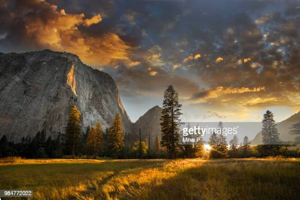 the sierra nevada at sunrise in yosemite national park in california. - yosemite nationalpark stock pictures, royalty-free photos & images