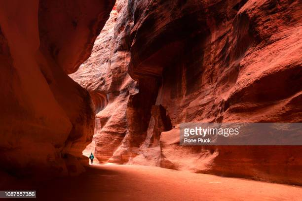 the sig. main entrance to the ancient city of petra. southern jordan - スロット渓谷 ストックフォトと画像