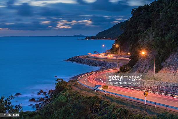 The sight seeing road in blue hour sky