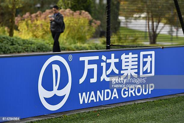 The sign and logo of Wanda Group, a Chinese multinational conglomerate corporation and FIFA partner, is seen on October 13, 2016 at the world...