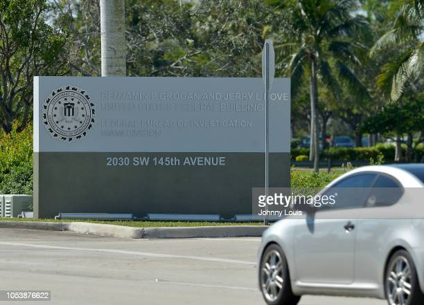 The sign at the entrance to FBI Miramar Headquarters where suspect Cesar Sayoc and his van are being housed is seen on October 26, 2018 in Miramar,...
