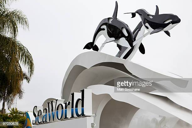 The sign at the entrance to SeaWorld February 24 2010 in Orlando Florida A female trainer who presumably slipped and fell in to a holding tank was...