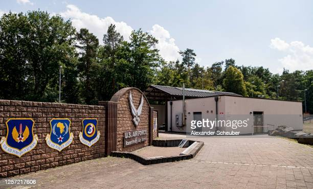 The sign at the Westgate of Ramstein air base on July 20, 2020 in Ramstein-Miesenbach, Germany. The governors of the four German states that host a...