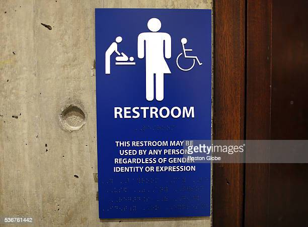 The sign for the genderneutral bathrooms on the 5th floor of Boston City Hall across from the reception area for the Mayor's office May 15 2016 The...