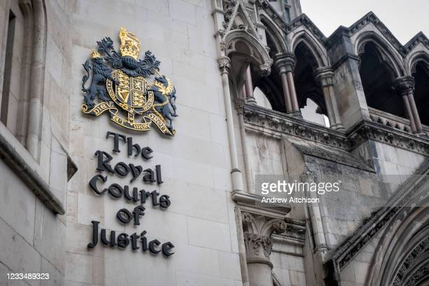 The sign for the Royal Courts of Justice, the law courts including the high court and the court of appeal for the laws in England and Wales on the...