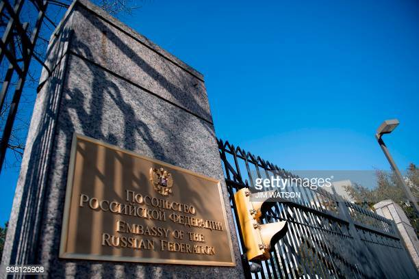 The sign for the Russian Embassy is viewed in Washington DC on March 26 2018 US President Donald Trump has ordered the expulsion of 60 alleged...