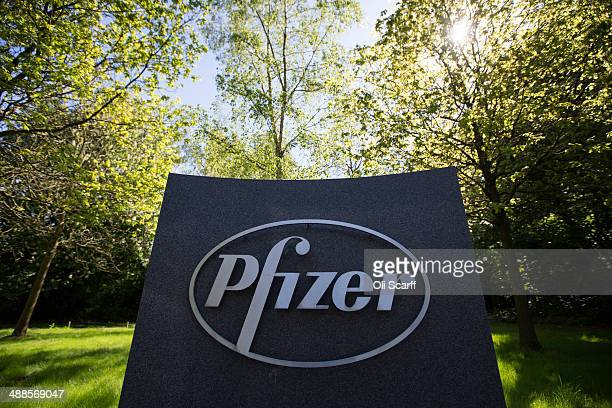 The sign for the UK commercial headquarters of pharmaceutical firm Pfizer at Walton Oaks which has over 900 employees on the 320acre site on May 7...