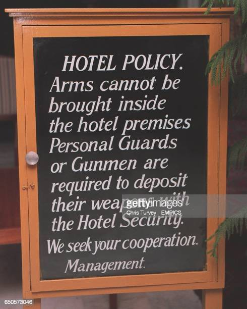 The sign inside the door at the England team hotel in Peshawar