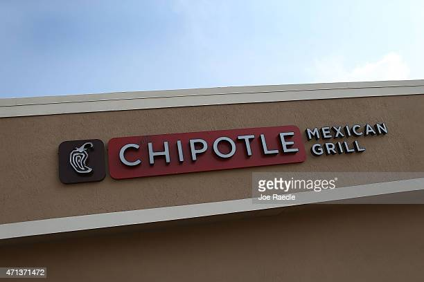 The sign is seen outside the Chipotle restaurant on the day that the company announced it will only use nonGMO ingredients in its food on April 27...