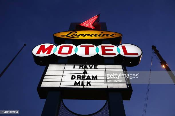 The sign is seen outside the Lorraine Motel where Dr Martin Luther King Jr was murdered and is now part of the complex of the National Civil Rights...