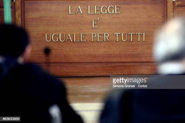 The sign 'La legge è uguale per tutti' during the New trial against five military police officers for the death Stefano Cucchi on October 20, 2017...