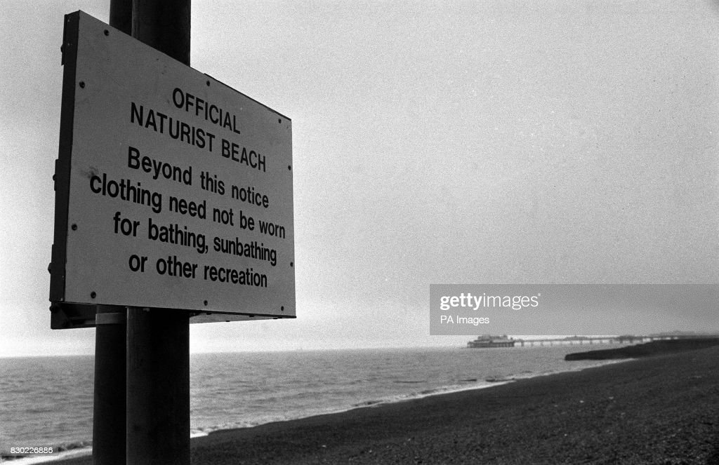 The sign marking the start of the Naturist beach in Brighton