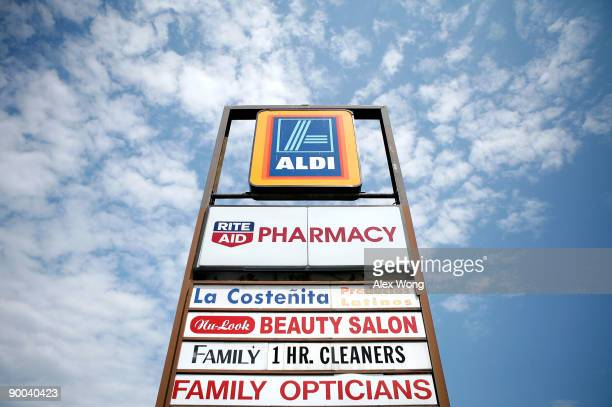 The sign of an Aldi store is seen in a shopping mall August 24 2009 in Alexandria Virginia The German discount grocery chain which launched 100 new...