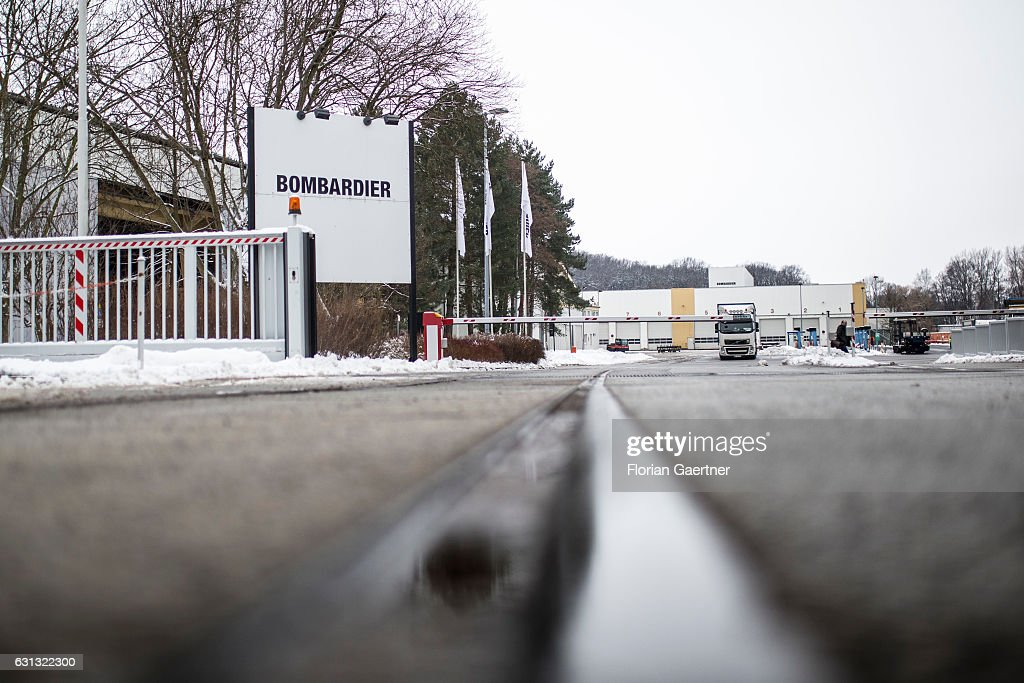 The sign of Bombardier is captured in front of its plant on January 09, 2017 in Bautzen, Germany. According to media reports Canadian train manufacturer Bombardier considers closing some of their plants in Germany.