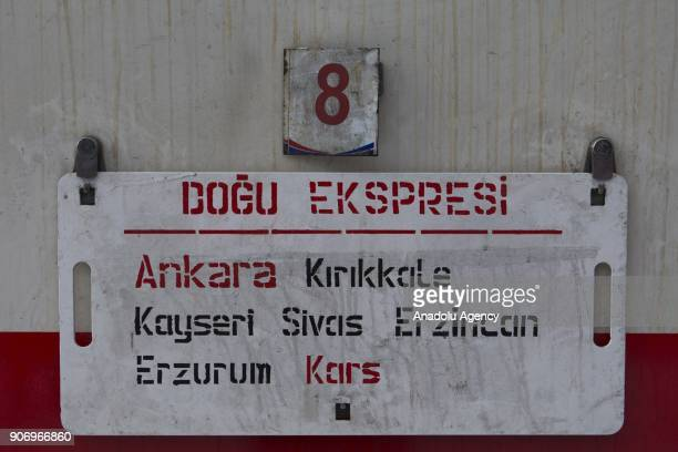 The sign of The Eastern Express which travels from Ankara to Kars is seen in Kars Turkey on January 13 2018 With the starting of winter season...