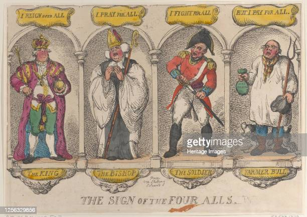 The Sign of the Four Alls, 1810. Artist Thomas Rowlandson.