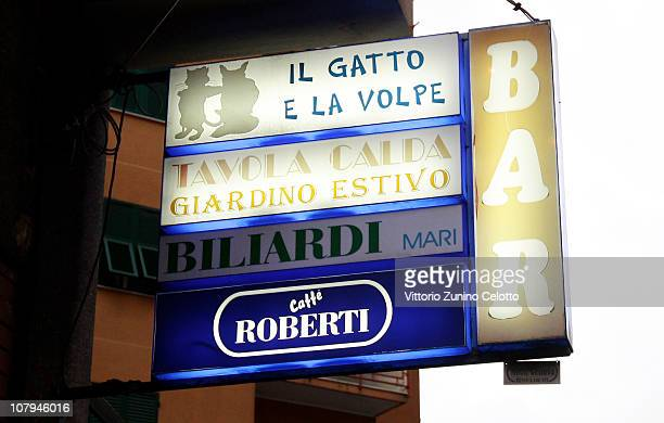 The sign of the 'Il gatto e la volpe' bar where Carlo Trabona killed two of his neighbours on January 9 2011 in Genoa Italy Carlo Trabona a 74yearold...