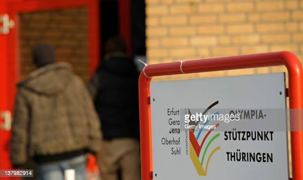 The sign of the Olympic center of German Federal State of Thuringia is pictured on January 30 2012 in Erfurt Germany Germany's national antidoping...