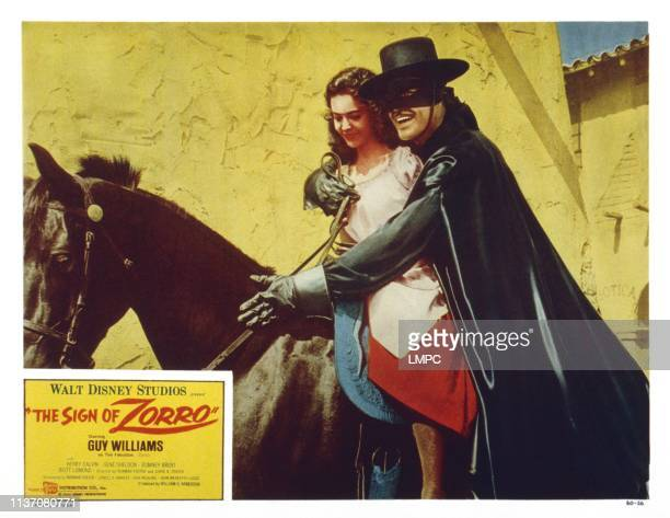 The Sign Of Zorro US lobbycard from left Eugenia Paul Guy Williams 1958